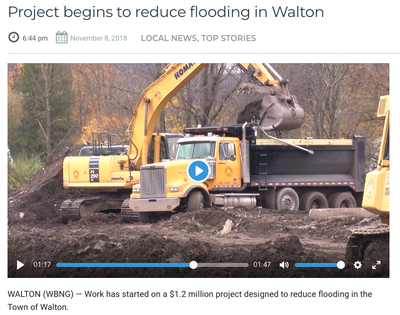 Work has started on a $1.2 million project designed to reduce flooding in the Town of Walton.